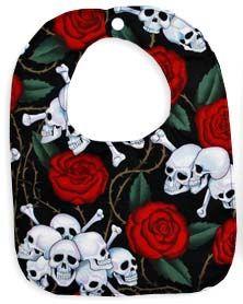 Punk Rock Baby Bib: Skulls & Roses