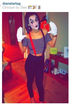 Diy Halloween costume . Mime costume . Diy mime costume . Clown makeup. Mime…