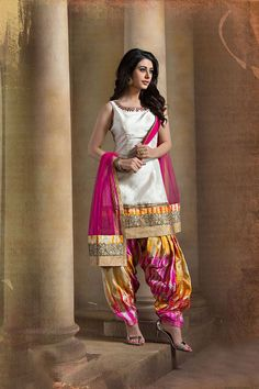 Show details for Designer patiala suit in multicolor