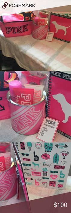 BNWT VS PINK BACK TO SCHOOL ACCESSORIES $75 BNWT VS PINK BACK TO SCHOOL BUNDLE Includes 1- pink lunchbox/cooler PINK written across the front in black & removable keychain 1- 2016/17 PINK logos with white dog student planner 1- FRESH & CLEAN BUCKET includes notepad U.S.B drive mist lotion wash NO TRADES will price drop PINK Victoria's Secret Accessories