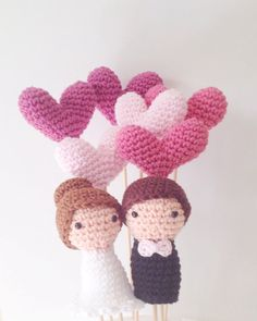 Wedding Cake Toppers Bride Groom and 6 Hearts di MarigurumiShop
