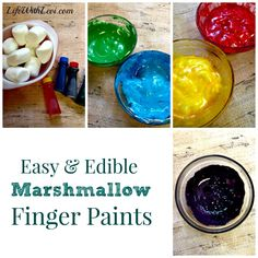 DIY Edible Marshmallow Finger Paint. I'd put less food coloring in it, however.