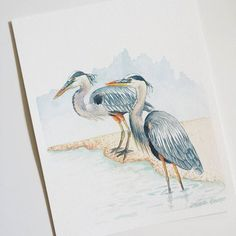 These two herons are heading to their new home. Fly away birdies. by priscillageorgeart