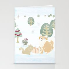 Forest Friends Winter Gathering Stationery Cards by A Creative Need - $12.00