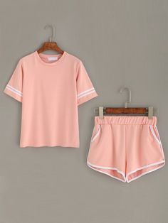 Pink Striped Trim Top With Contrast Trim Pockets Shorts Mobile Site