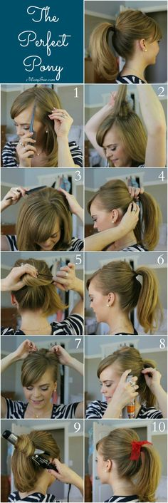 1 / Begin by parting your hair into a deep side part 2 / Pull up a section of hair at the crown and back comb it to create volume 3 / Gently comb down the top layer to make the hair look smooth 4 / Next, pull all your hair up into a ponytail... Read More »