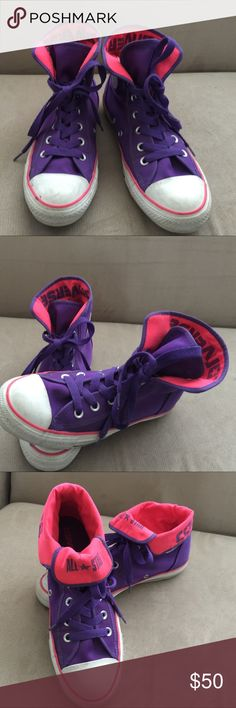 All Star Converse high style, size 6 All Star converse high,used but perfect condition. You can fold the back of the shoe just like the picture, pink and purple color, size is 6 big. Converse Shoes Athletic Shoes