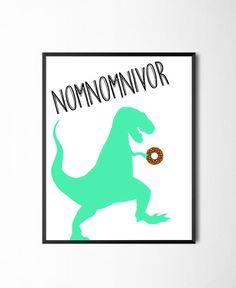 Nomnomnivor Dinosaur Donut Print Nom Nom by RainbowBabiesGarland