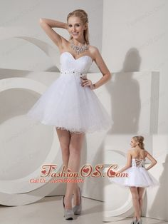 Cheap White Cocktail Dress A-line Sweetheart Organza Beading Mini-length  http://www.fashionos.com  A sassy notable prom dress features with a strapless sweetheart neckline dress. The appliques decorated on the bodice add the exquisite charm. A mini-skirt formed by muti-tiered tulle give you a flowy and sausy feeling.A lace up back add the elegant and sexy look of the dress. Wearing this dress, your slim leg and bare shoulder show off your feminine beauty.