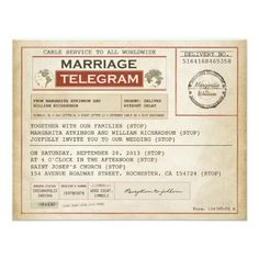 Telegram, could also be a save the date telegram