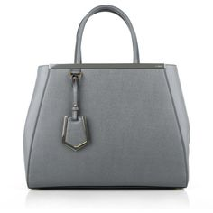 Fendi 2Jours Regular Grey in grey, Handle Bags (62,920 PHP) ❤ liked on Polyvore featuring bags, grey, fendi bags, leather bags, gray leather bag, top handle handbags and evening bags