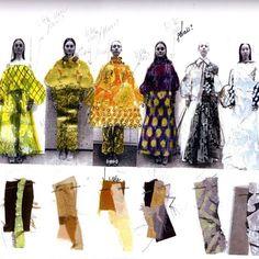 From the sketchbook of fashion & textile designer Henriette Tilanus #fashion #textile #collage #1granary #fashionillustration #swatch #color #texture width=