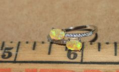 fire opal Cz ring gemstone silver jewelry Sz 8 elegant cocktail engagement G799E #Cocktail