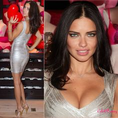 Adriana Lima Sliver Printed Bandage Dress H019S - $129 #dress #celeb #fashion