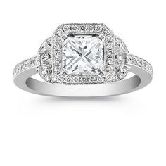 My Ring!!! Halo Diamond Engagement Ring with Pave Setting