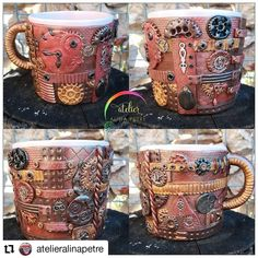 @atelieralinapetre has a new #mug for you. • • • • • • See more on her IG account and do not forget to follow her  _________________________________ #coffeeholic #coffeehouse #mugs #polymerclay  #polymer_clay #passion #create #coffeeart #coffeetime #timeforme #coffeelovers #mugphoto #arta #bucurestirealist #photos #fotograf #entrepreneur #entrepreneurs #mugs #cups #teamug #teacup #romania  #photooftheday #romaniancrafter #crafter Coffee Art, Tea Mugs, Mug Cup, Photo S, Coffeehouse, Don't Forget, Polymer Clay, Steampunk, Artisan
