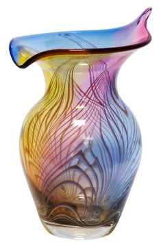 Image detail for -Marian Pyrcak Plumed Hand Blown Decorative Art Glass Vase