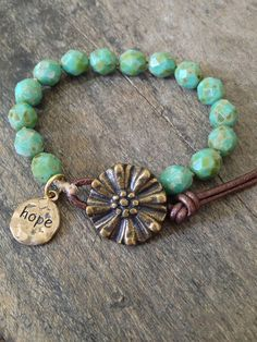 "Turquoise & Bronze Flower Wrap Bracelet ""Hope"" Knotted Bohemian Jewelry"