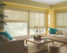 Levolor Natural Woven Wood Shades from Blinds.com eclectic living room