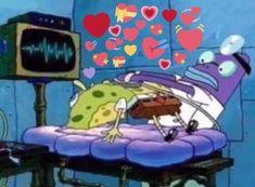 Spongebob Memes, Cartoon Memes, Cartoon Icons, Cartoons, Spongebob Squarepants, Dankest Memes, Funny Memes, Heart Meme, Cute Love Memes