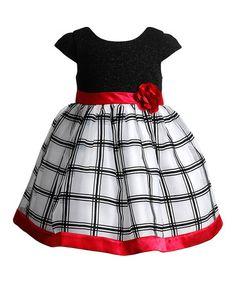 Look at this #zulilyfind! Black & White Windowpane Cap-Sleeve Dress - Infant #zulilyfinds
