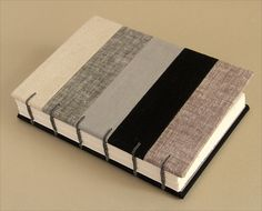 Patchwork Linen coptic stitch journal by Zoopress studio, via Flickr