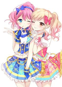 Laura Sakuraba and Yume Nijino Manga Kawaii, Kawaii Anime Girl, Anime Art Girl, Anime Girls, Anime Stars, Anime Friendship, Moe Anime, Star Character, Cute Cartoon Girl