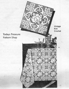 Rose Filet Crochet Pattern is 8 or 10 inches are joined for tablecloths, bedspreads, runners, etc. Mail Order Design Laura Wheeler available at Vintage Knit Crochet Pattern Shop. Crochet Tablecloth, Crochet Doilies, Easy Crochet, Knit Crochet, Crochet Square Patterns, Crochet Squares, Vintage Knitting, Vintage Crochet, Fillet Crochet