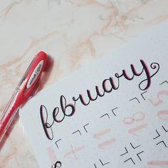"""91 Likes, 1 Comments - The Bullet Journal Club (@thebulletjournalclub) on Instagram: """"- Lully~  detail~ . . #february #fevereiro #pink #letterting #rosa #uniball #bulletjournal #bujo…"""""""