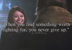 """Rumplestiltskin: """"After everything you've learned about me, after everything I've done, why haven't you given up on me?"""" -- Belle: """"I learned a long time ago, that when you find something that's worth fighting for, you never give up."""" <3"""