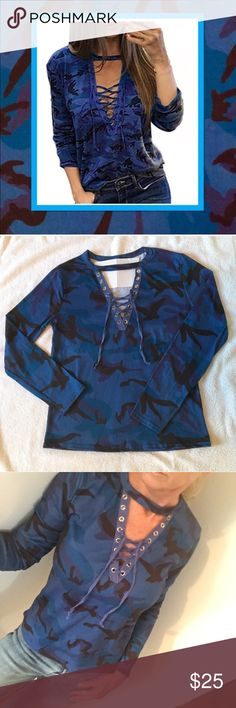 BLUE CAMO LACE UP CHOKER NECK NWOT Super fun top. Fabulous blue CAMO with lace up and choker neck, with a bit of stretch for a nice fit. Check out my red CAMO in my closet. Brand new in bag!  Happy Poshing! Tops Tees - Short Sleeve