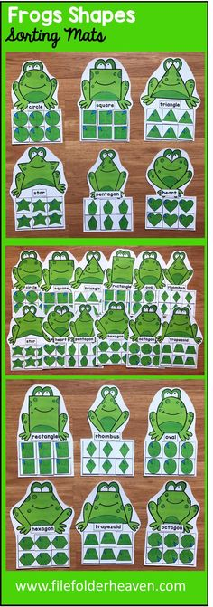 These Frogs Shape Sorting Mats include 12 unique sorting mats that focus on sorting frogs by shapes. In a center or independent work station, students sort frog shapes into the mat with the frog that has the same shape. Shape mats included are: circle square triangle rectangle oval heart star rhombus trapezoid pentagon hexagon octagon