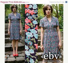 ON SALE Vintage 90s TEAL & Coral Floral Smocked by shopEBV on Etsy, $30.60