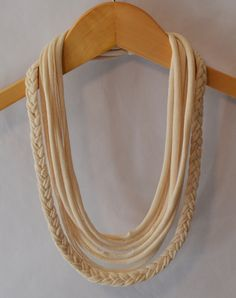 t shirt necklace with braid in natural. $14.00, via Etsy.
