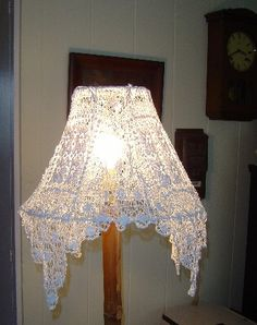 Square Cotton Vintage Doily Lamp Shade Cover - like how the corners drape!