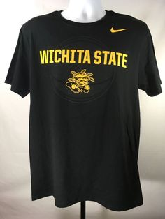 ae39ca3d0 Wichita State Shockers Nike Athletic Cut Large Black T-Shirt Tee NCAA