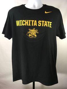 Wichita State Shockers Nike Athletic Cut Large Black T-Shirt Tee NCAA #Nike #WichitaStateShockers