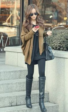 All black with tan sweater.