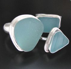 Genuine Sea Glass Ring - Bezel Set in Sterling Silver, Your Size, Your Color Choice - Aqua Blue, Soft Blue or Lime Green Jewelry. $148.00, via Etsy.