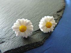 99p Handmade flower earrings white daisy by KelwayCraftsYorkshir