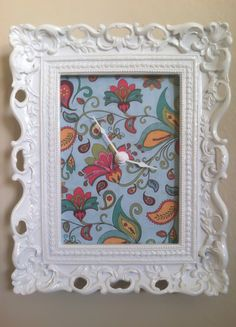 Floral White Frame Wall Clock by KlockedInDallas on Etsy, $40.00