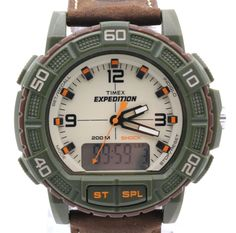 Timex Mens Expedition Analog and Digital Display Resin Watch With Leather for sale online Timex Expedition, Casio Watch, Green And Brown, Watches, Digital, Leather, Ebay, Accessories, Wristwatches