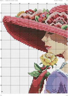 0 point de croix femme au chapeau rouge et chale violet - cross stitch lady with red hat and purple shawl part 3 Funny Cross Stitch Patterns, Cross Stitch Charts, Cross Stitch Designs, Cross Stitch Angels, Cross Stitch Rose, Cross Stitching, Cross Stitch Embroidery, Hobbies And Crafts, Diy And Crafts