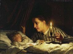 Young Mother Contemplating her Child by Candlelight, 1875 Albert Anker (Swiss 1831-1910)