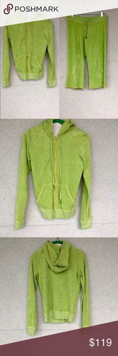Juicy Tracksuit Limited edition juicy couture bright green tracksuit with fruit charms on the strings , clean and lightly worn, jacket is a size S and the wide leg pants are a size Medium Juicy Couture Pants Wide Leg