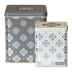 GreenGate Tin Boxes Square Oona Dark Grey Set Of 2 Pieces