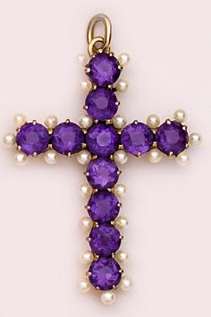 Beautiful Victorian Amethyst, Natural Pearl And Gold Cross Oh I want this