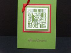 Handmade Christmas card for golfer in red by TheLanguageofPaper, $4.50