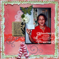 Scrapbook Layout with Pink Paisley papers