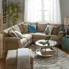 Build Your Own Alton Ecru Rolled Arm Sectional Collection Living Room Themes, Living Room Grey, Small Living Rooms, Living Room Furniture, Living Room Designs, Living Spaces, Sectional Sofa Decor, Sofa Layout, Living Room Inspiration